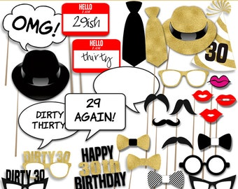 Printable Photo Booth Props, 30th Birthday photo prop, Party photo props, Instant Download PDF File