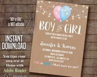 Gender Reveal invitation, Gender Reveal party, Balloons gender reveal, Instant Download Self Editable PDF file A491