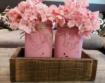 Mason jar holder, candle holder, painted mason jars,  reclaimed wood, shabby chic Mason jar holder, Mason jar vase, chalk paint