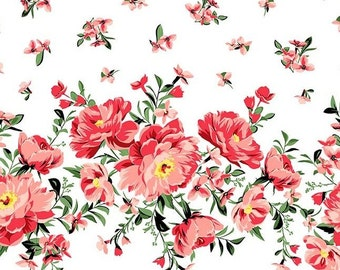 QUILTING COTTON Cabbage Rose Border Print in Coral. Sold by the 1/2 yard
