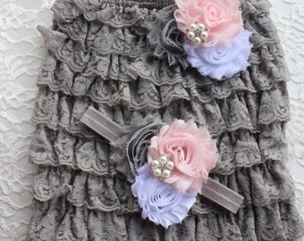 grey petti romper,grey baby romper,lace petti romper,photo prop rompers,baby girl rompers,girls romper set,baby outfit,lace setsgrey rompers
