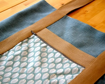 Tote Bag / Market Bag Blue Leaves