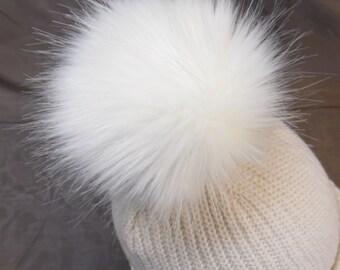 Size XL(high quality) cream-white) faux fur pom pom 6.5 inches / 16 cm