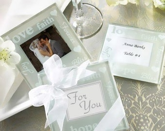 60 Photo Frame Coaster Sets, Wedding Baptism Favors Wrapped with Organza Bow