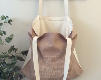 Hemp and Linen Market tote / beach bag / natural dyes