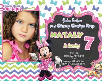 Disney Minnie Mouse Bowtique Birthday Invitations,  Minnie Bowtique Digital Invitation, Minnie Party Invitations, Minnie Birthday Supplies