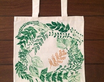 Reusable 100% Cotton Hand Painted Grocery Bag Tote