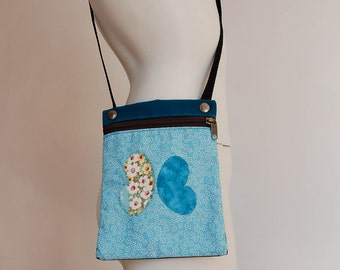 Small shoulder bag blue butterfly