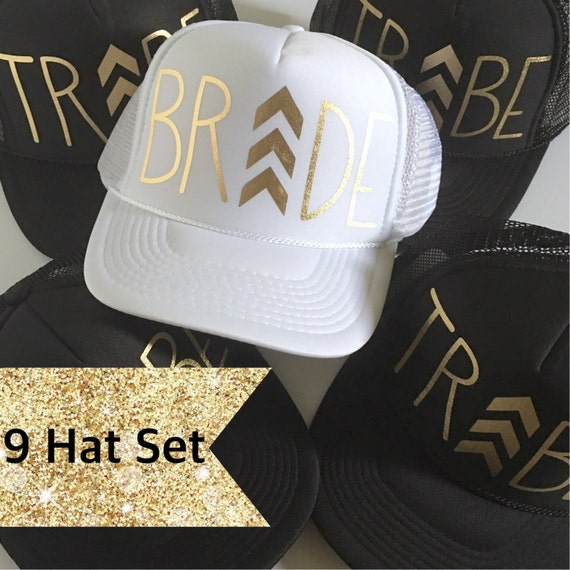 9 Chevron Bride Tribe Hat SET| Bride Tribe Hats| Bachelorette Hats|Bachelorette Party 1 White 8 Black Tribe Hats-with Gold Vinyl lettering