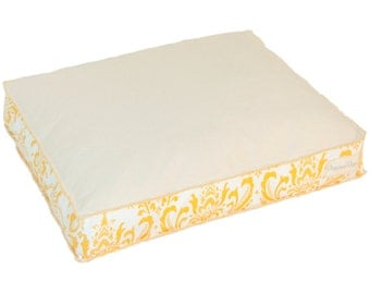 Canvas Dog Bed | Canvas Pet Bed w/ Yellow Print | Durable pet bed for dog or Cat | Washable Dog Bed Cover | Small Medium Large Dog Beds