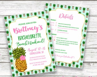 Bachelorette Itinerary, Pineapple Bachelorette Invitation, Beach Bachelorette Invitation, Bachelorette Party Itinerary, Preppy Bachelorette