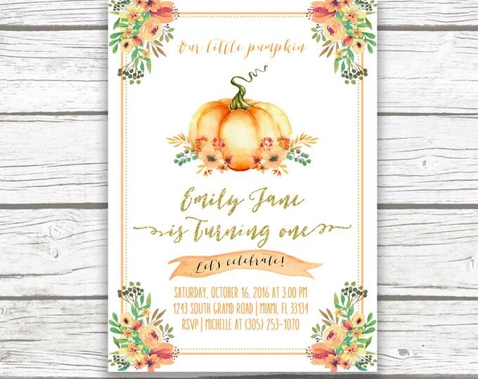Pumpkin Birthday Invitation, Pumpkin First 1st Birthday Invitation, Fall Birthday Invitation, Little Pumpkin Turning One Printable Invite