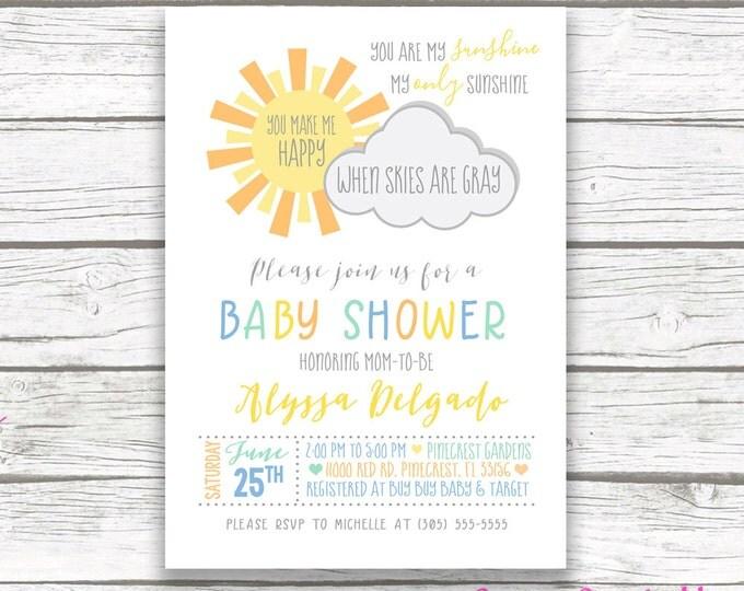 You Are My Sunshine Baby Shower Invitation, Rainbow Baby Shower Invitation, Sunshine Invitation, Baby Shower Invite Boy, Printable Invite