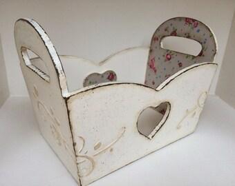 Shabby chic basket, storage basket, shabby chic cotage