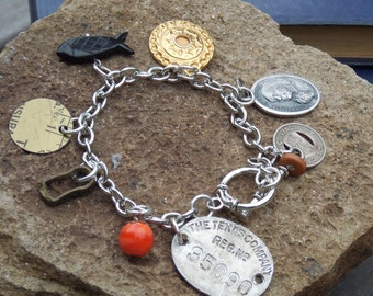 Charm Bracelet - vintage, found objects, upcycled, repurposed