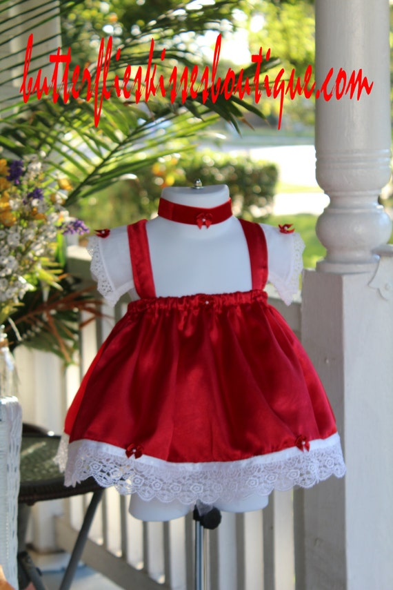 Handmade christmas dress size 6 9 months baby dress red white satin
