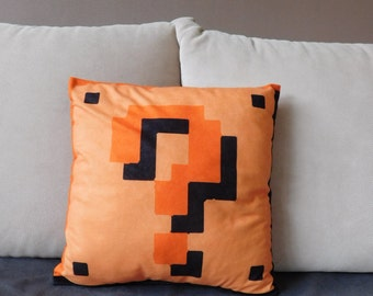 mario pillow, question mark, super mario, Mario bros, mario pillow, nintendo, geek pillow, old games, video game