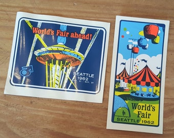 Pair of Seattle World's Fair decal stickers