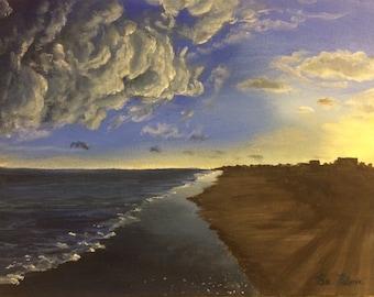 Original Acrylic Painting Beach Scene 12x14