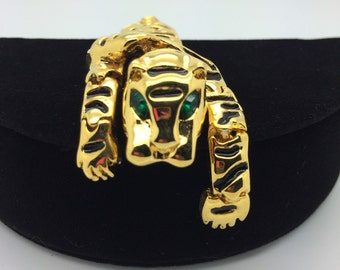 VINTAGE ARTICULATED Tiger Brooch Gold Tone *Free Shipping*