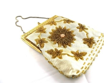Beaded Gold Purse with Flowers