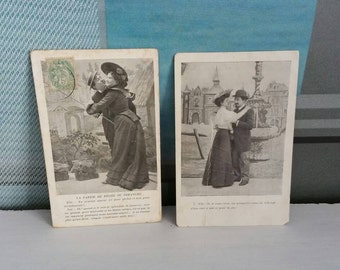 Set of 2 antique French postcardsStamped 1908 romantic couples fountain garden