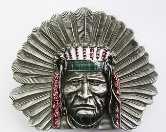 American Native Indian Chief Color Cowboy Western Metal Belt Buckle