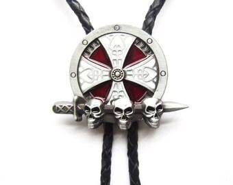 Celtic Shield Skulls Sword Western Cowboy Rodeo Bolo Tie