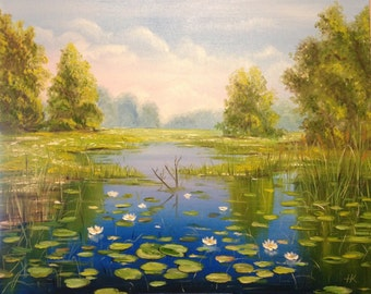 "Painting ""The Summer"". Original Landscape Art Oil Painting On Canvas, Size: 30"" x 24"" (77 x 61cm)"