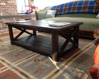 Rustic X Coffee Table Rustic Hand Made Distressed Optional Rectangle