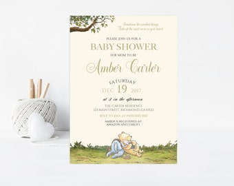 Winnie the Pooh Baby Shower Invitation - Printable Winnie the Pooh Baby Shower Invitation - Baby Shower Invitation - Winnie the Pooh 03