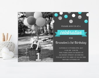 Boy First Birthday Invitation, Birthday Invitation for Boys, Printable Invitation, Photo Invitation, Boys First Birthday, First Birthday Boy