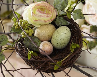 Nest of Decorated Eggs & Flowers