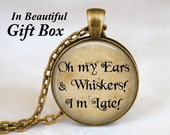 Alice In Wonderland Jewelry • White Rabbit Alice in Wonderland Quote Necklace • Fairy Tale Jewelry • Book Quote Jewelry • Alice Necklace