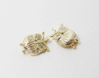 P0298/Anti-Tarnished Matte Gold Plating Over Brass +Cubic Zirconia/Cubic Eyed Owl Pendant Connector/8x 12mm/2pcs