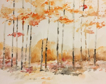 Watercolor Autumn Birch Trees Original