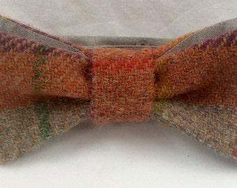 Bow tie ready tied, orange, grey and purple Harris Tweed.