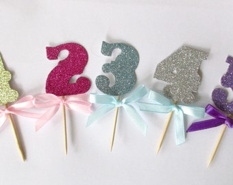 Birthday Cupcake Toppers/Pink and Gold 1st Birthday Toppers/Blue and Silver First Birthday Toppers/ Glitter Birthday Toppers Sparkly Numbers