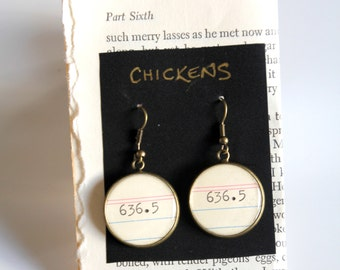 Dewey Decimal System EARRINGS, Chickens, 636.5, call number, library, gift