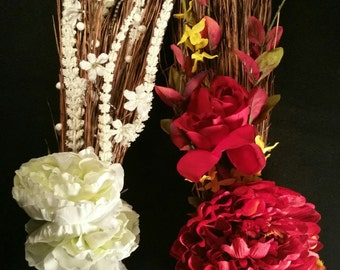 Wedding JUMPING BROOM w/ red flowers | white flowers | weddings | anniversary | Vow renewals | bride and groom | african tradition | gifts