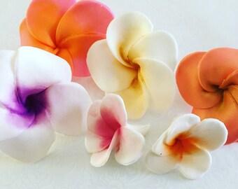 6 Large Fondant Flower Hawaiian Plumeria Fondant Plumeria Gumpaste Plumeria Fondant Hawaiian Flowers Colorful Fondant Flowers