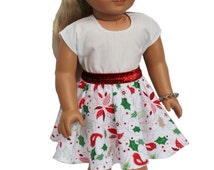 18 inch doll skirt, handmade, christmas doll skirt, holiday doll skirt, doll skirt, handmade doll clothes, 18 inch doll outfit