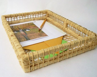 """Natural File Basket Bin - Rectangle Square Shape Tray Woven Twisted Leaf Material/Light Wood Frame - Natural Office Decor 14""""wide x 10""""x 2"""""""