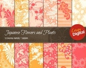 Japanese Flowers and Plants Vol. 11 Digital Papers 12pcs 300dpi Instant Download Scrapbooking Printable Paper