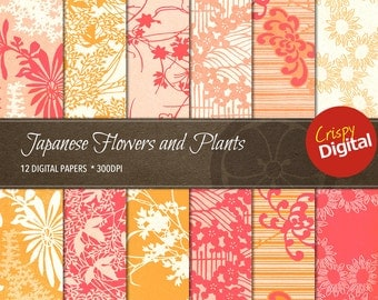 Flowers and Plants Digital Papers Japanese Pattern Collage Sheets Vol. 11  12pcs 300dpi Digital Download Scrapbooking Printable Paper