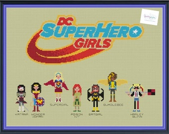DC Superhero Girls Cross Stitch Pattern DIGITAL PDF (pattern only) Wonder Woman, Harley Quinn, Poison Ivy, Supergirl, Batgirl, Katana