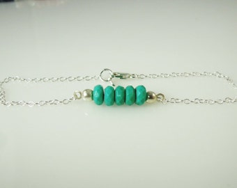Bracelet with 5 Turquoise Rondelle Beads in Sterling Silver