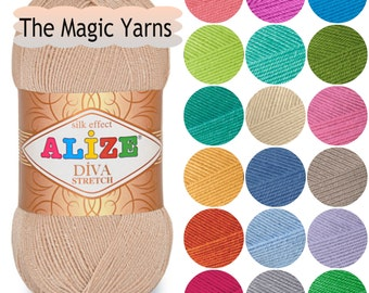 Elastic crochet yarn-ALIZE DIVA STRETCH,crochet bikinis,microfiber acrylic, fingering weight, baby weight,fine,spandex,lycra, baby yarn,sale