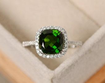 Diospdie ring, cushion cut gemstone, engagement ring