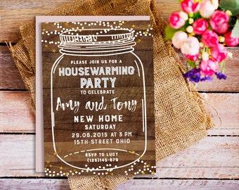 Housewarming party invitation, BBQ Printable house warming, Rustic Summer invitation, we've moved invite, Mason jar invites, digital invite